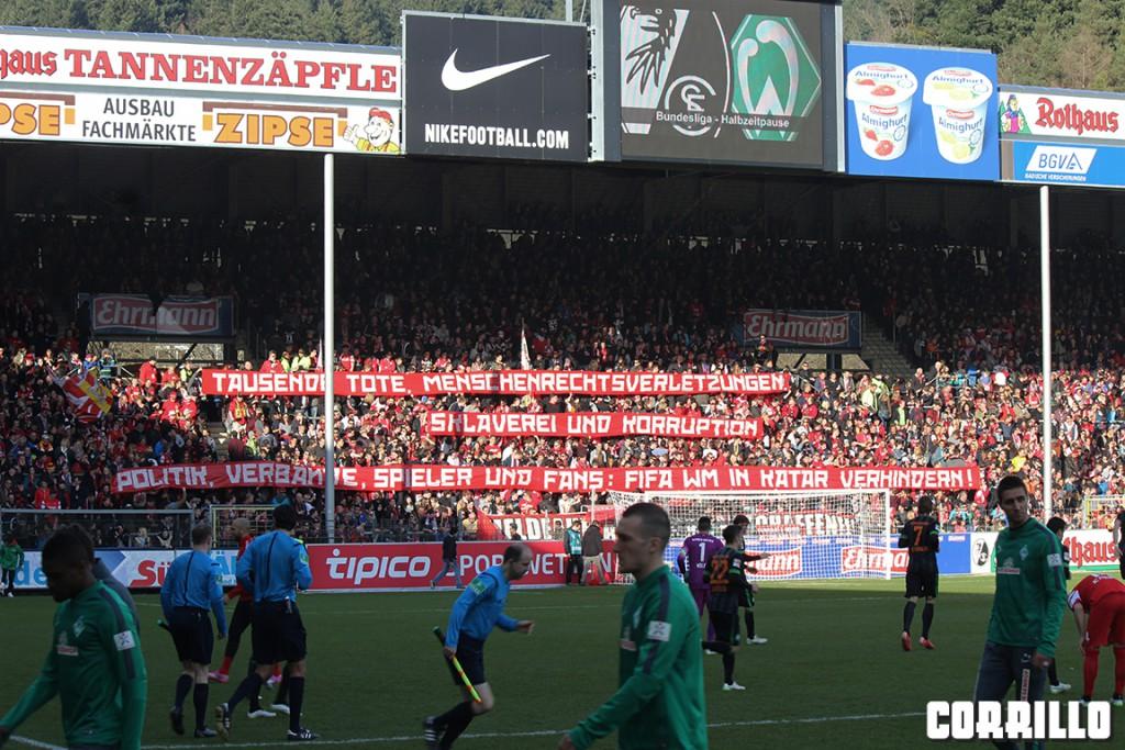 Spruchband beim gestrigen Heimspiel gegen Bremen zur geplanten WM in Katar.